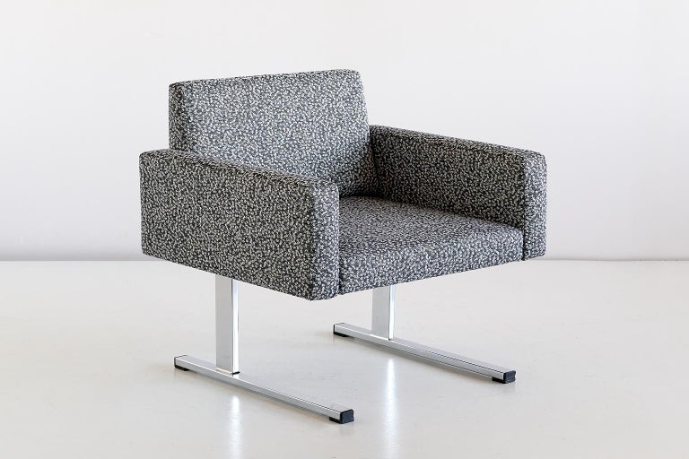 Finnish Pair of Esko Pajamies Lounge Chairs in Raf Simons Fabric, Merva Finland, 1960s For Sale