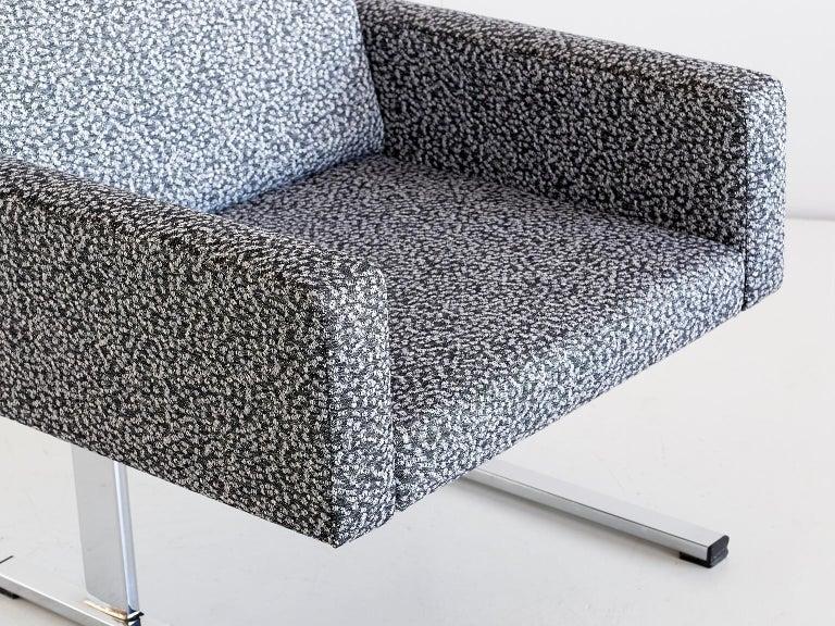 Steel Pair of Esko Pajamies Lounge Chairs in Raf Simons Fabric, Merva Finland, 1960s For Sale