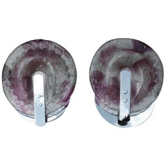 Pair of Esperia Angelo Brotto 1970s Wall Lights Pop Art Purple and White