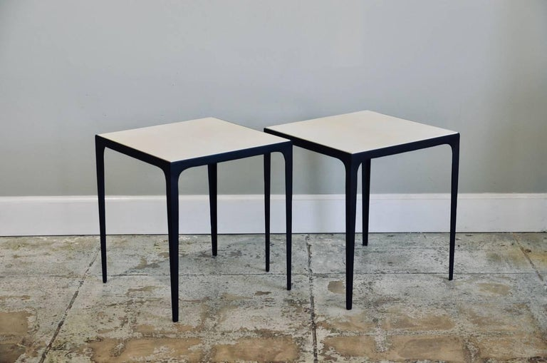Art Deco Pair of 'Esquisse' Parchment and Wrought Iron Side Tables by Design Frères For Sale