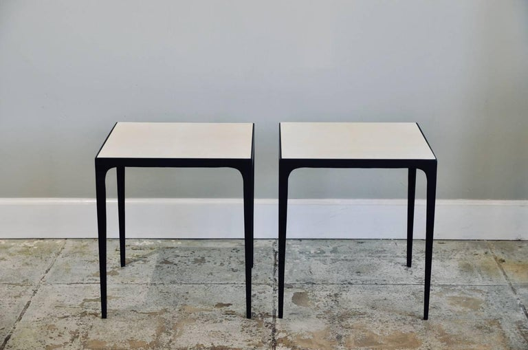 Pair of 'Esquisse' Parchment and Wrought Iron Side Tables by Design Frères For Sale 2