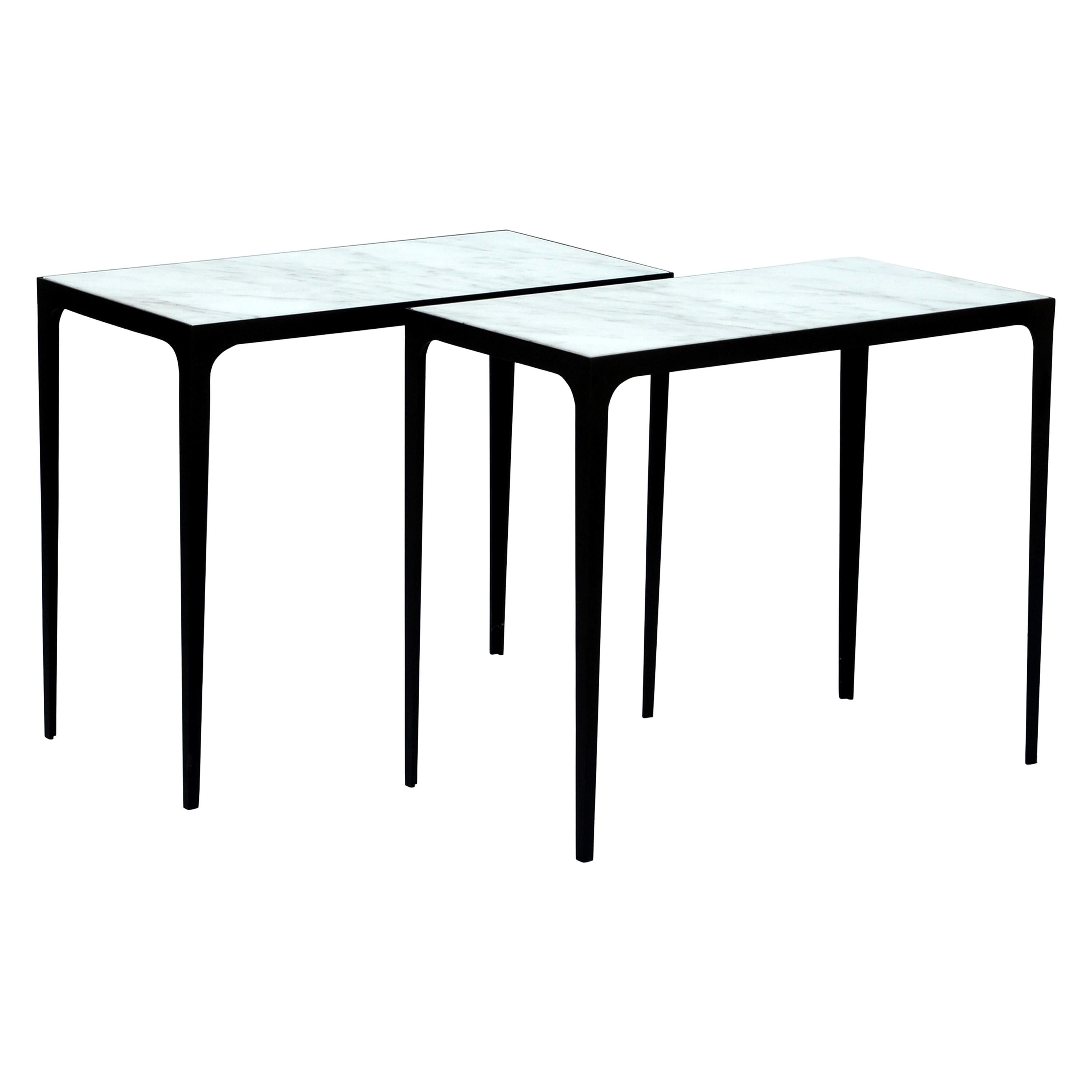Pair of 'Esquisse' Wrought Iron and Marble Side Tables by Design Frères