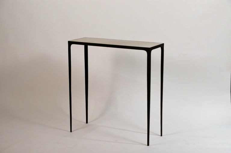 Art Deco Pair of 'Esquisse' Wrought Iron and Parchment Consoles by Design Frères For Sale