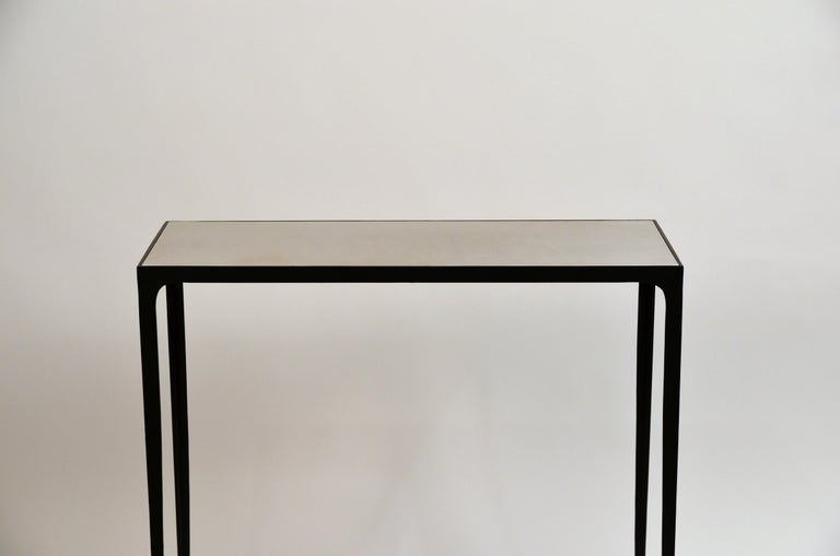 Powder-Coated Pair of 'Esquisse' Wrought Iron and Parchment Consoles by Design Frères For Sale