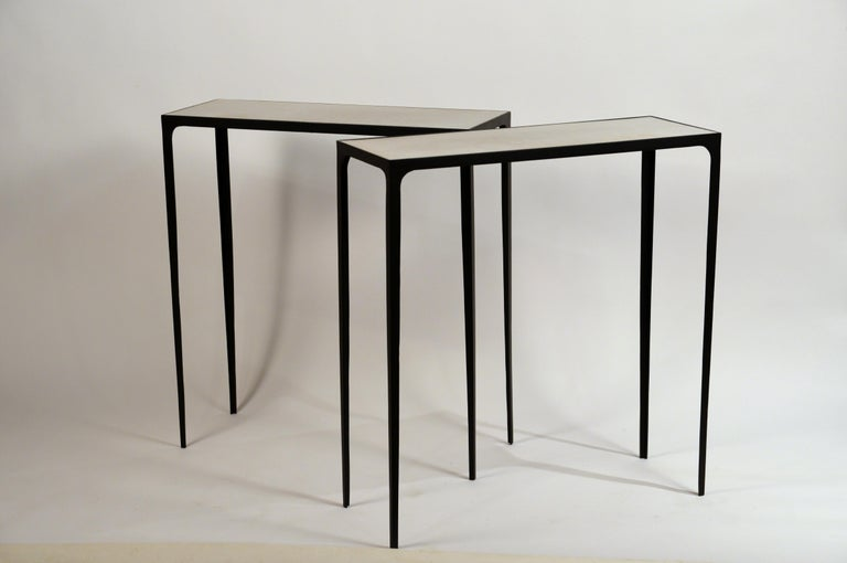 Contemporary Pair of 'Esquisse' Wrought Iron and Parchment Consoles by Design Frères For Sale