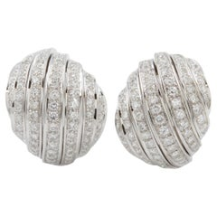 Pair of Estate 18 Karat White Gold and 3.0 CTW Diamond Dome Earrings