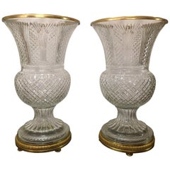 Pair of Estate French Grand Size Cut Crystal Bronze D'Ore Urns