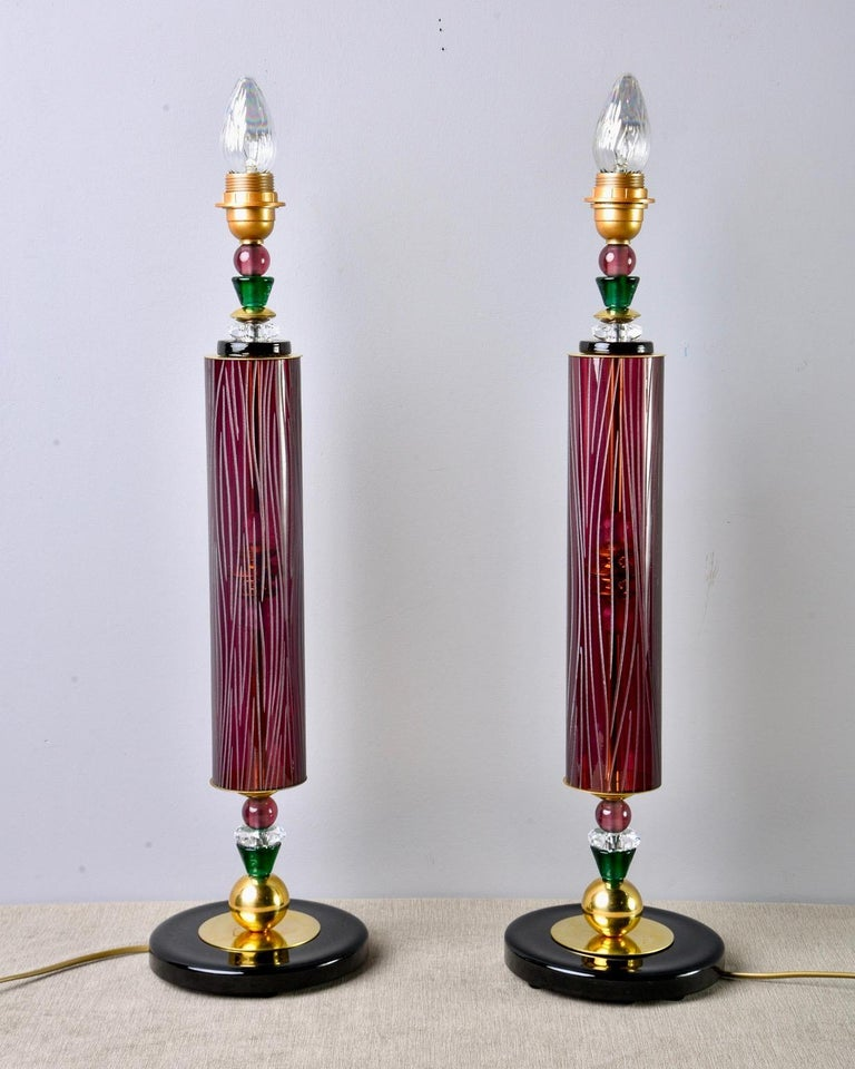 Pair of Etched Aubergine and Multi-Color Murano Glass Table Lamps 7