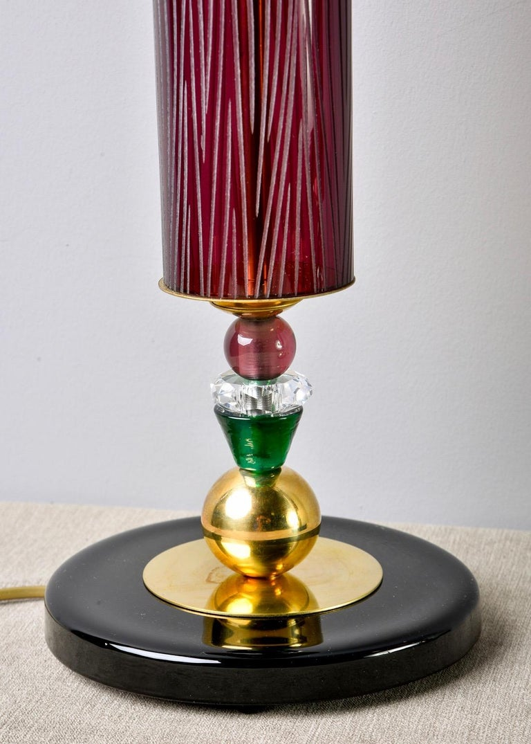 Pair of Etched Aubergine and Multi-Color Murano Glass Table Lamps For Sale 2