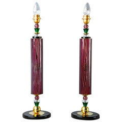 Pair of Etched Aubergine and Multi-Color Murano Glass Table Lamps