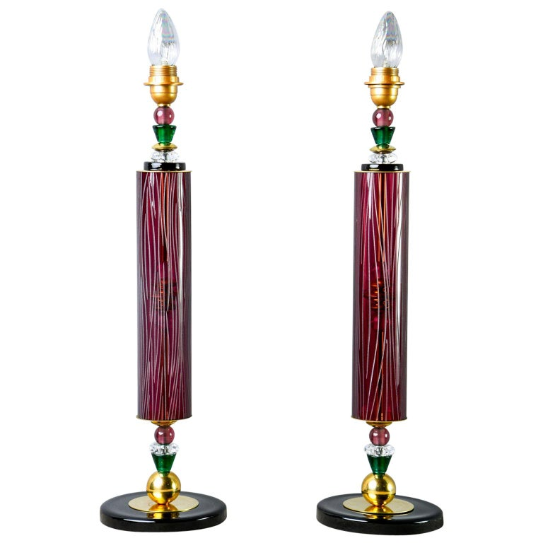 Pair of Etched Aubergine and Multi-Color Murano Glass Table Lamps 1