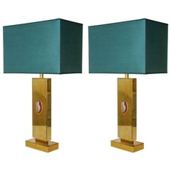 Pair of Etched Brass 1970s Lamps by Georges Mathias