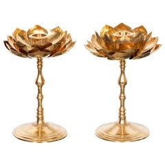 Pair of Etched Brass Lotus Candlesticks