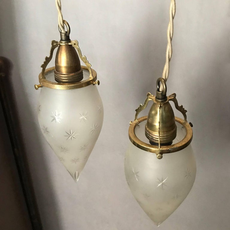 Pair of Etched Frosted Glass Teardrop Pendant Lights In Excellent Condition For Sale In Brooklyn, NY