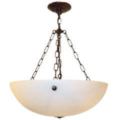 Pair of Etched Glass Neoclassic Pendant Lights. Sold Individually.
