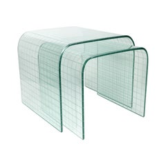 Pair of Etched Glass Waterfall Tables by Angelo Cortesi for FIAM