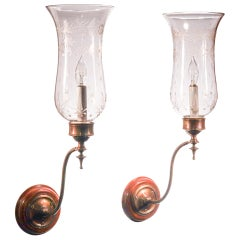 Pair of Etched Hurricane Shade Wall Sconces