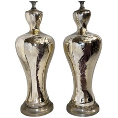 Pair of Etched Mercury Glass Table Lamps