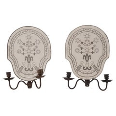 Pair of Etched Mirror Candle Sconces