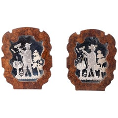 Pair of Etched Mirror Plaques