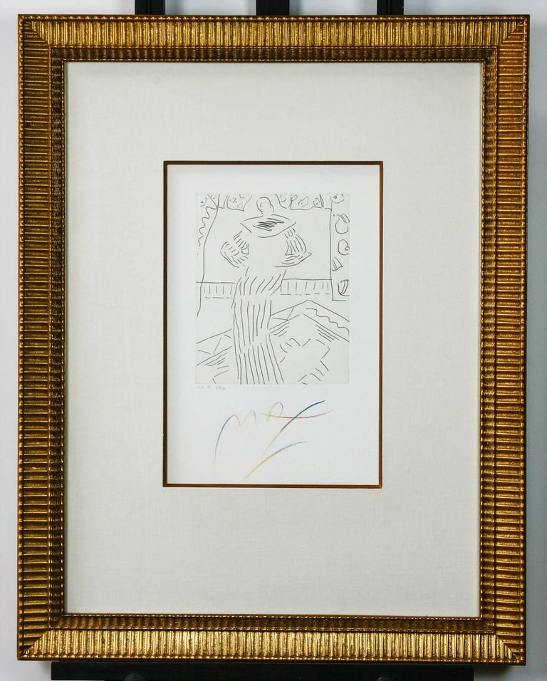 Fantastic pair of rare framed etchings by Peter Max (American b. 1937) V3 X and XI. In the manner of Picasso each color pencil signed lower center and titled lower left 63 of 99. Mounted in gilt frames bordered in white linen. Etchings V3 IX and XII