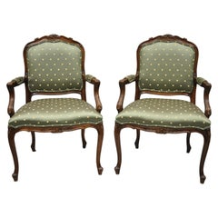 Pair of Ethan Allen French Louis XV Style Green Upholstered Armchairs