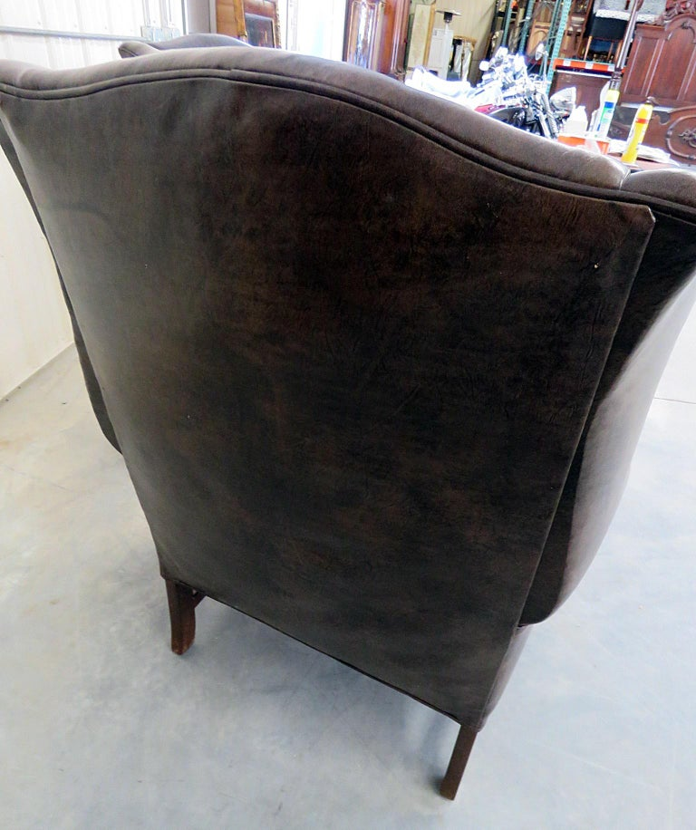 Excellent Pair Of Ethan Allen Leather Wingback Chairs For Sale At 1Stdibs Short Links Chair Design For Home Short Linksinfo