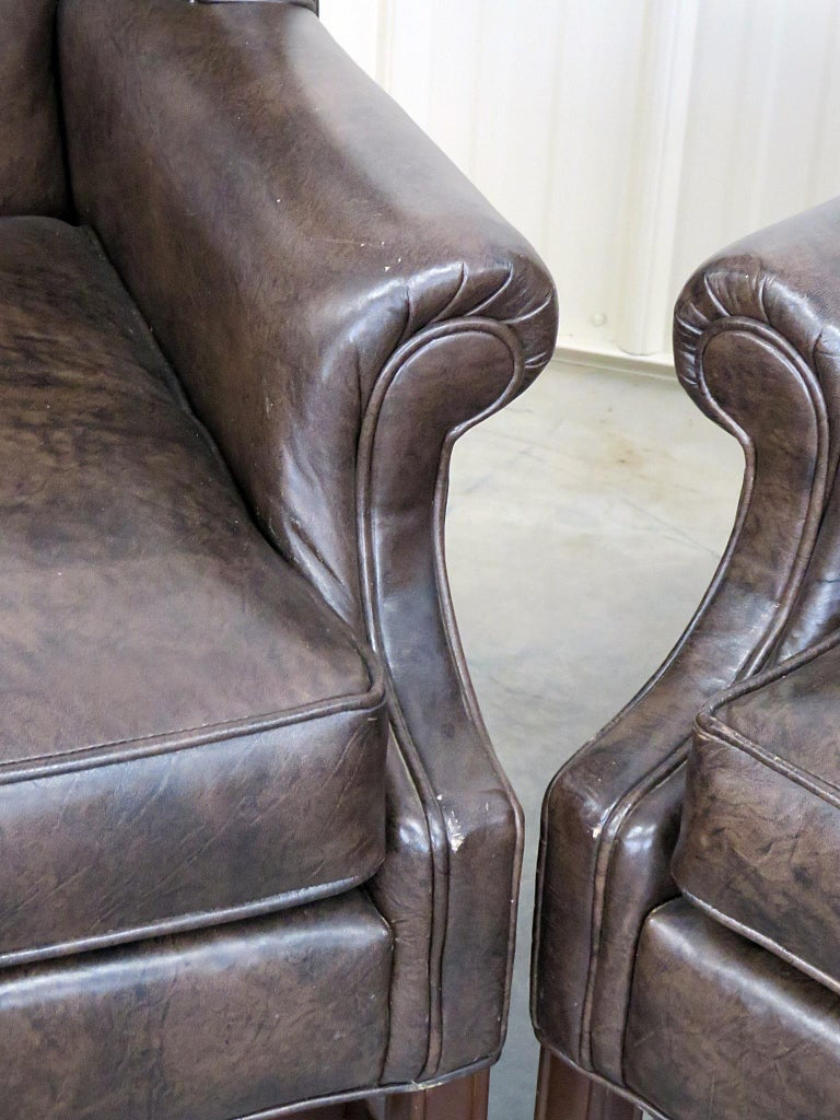 Astonishing Pair Of Ethan Allen Leather Wingback Chairs For Sale At 1Stdibs Short Links Chair Design For Home Short Linksinfo