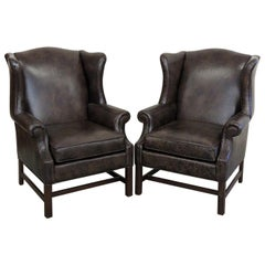 Pair of Ethan Allen Leather Wingback Chairs
