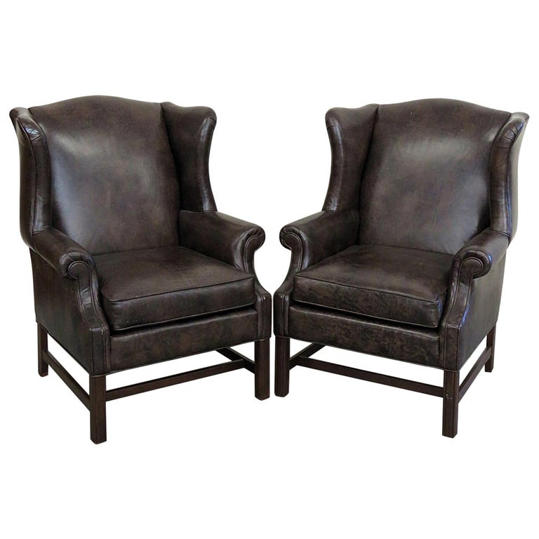 Pair Of Ethan Allen Leather Wingback Chairs For Sale At