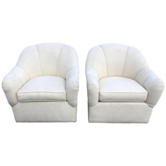 Pair of Ethan Allen Linen Swivel Club Chairs