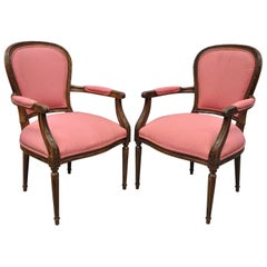 Pair of Ethan Allen Louis XVI French Style Pink Armchairs Fauteuil Chair