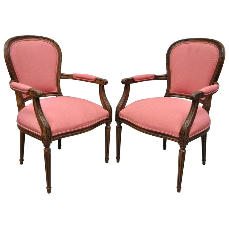 Pair Of Ethan Allen Louis Xvi French Style Pink Armchairs Fauteuil