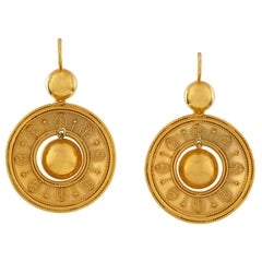 Pair of Etruscan Revival Gold Drop Earrings