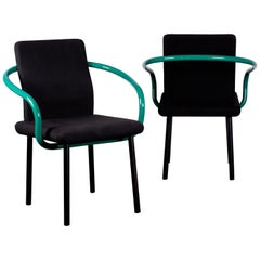 Pair of Ettore Sottsass Mandarin Chairs for Knoll in Green & Black
