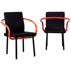 Pair of Ettore Sottsass Mandarin Chairs for Knoll in Red & Black