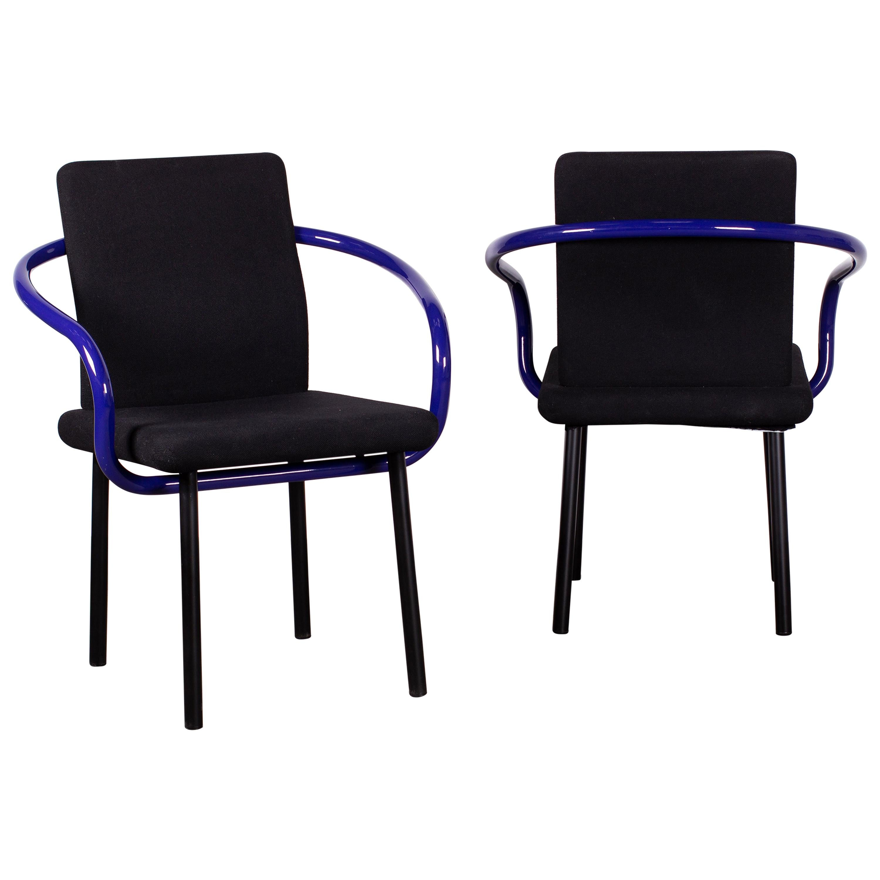 Pair of Ettore Sottsass Mandarin Chairs for Knoll in Violet & Black