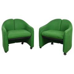 Pair of Eugenio Gerli Midcentury Green Fabric Italian Armchairs, Tecno 1960s