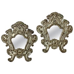 Pair of European 18th Century Silver Plated Baroque Mirrors