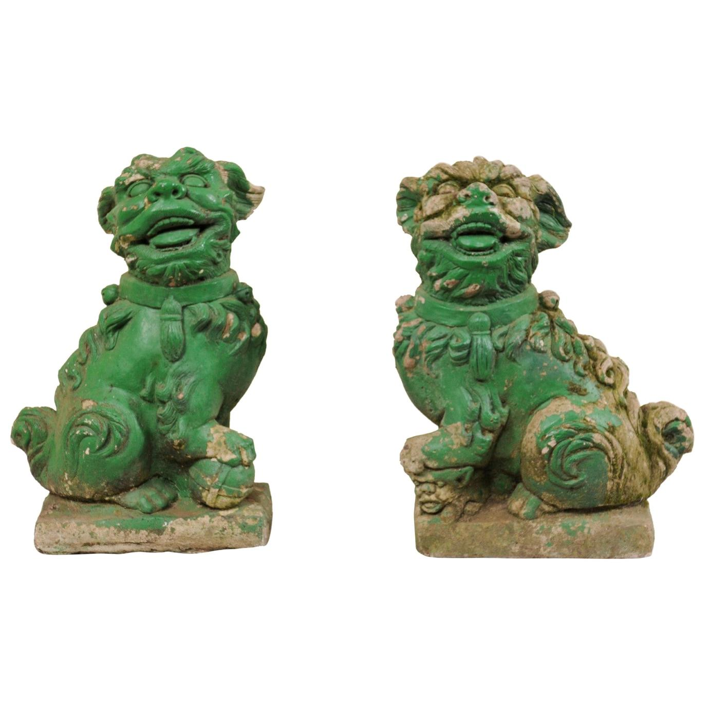 Pair of European Foo Dog Statues with their Original Green Paint