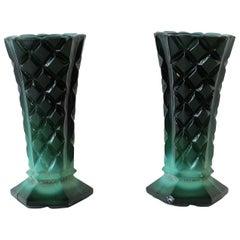European Green Malachite Bohemian Glass Vases
