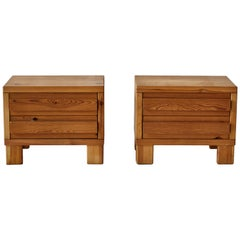 Pair of European Low Pine Nightstands