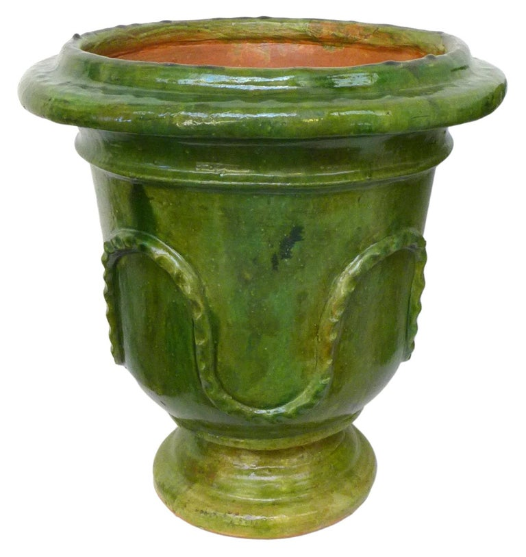 Neoclassical Revival Pair of European Neoclassical Glazed Terracotta Planters For Sale