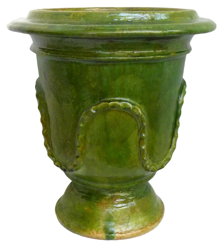 Pair of European Neoclassical Glazed Terracotta Planters In Good Condition For Sale In Los Angeles, CA