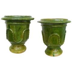 Pair of European Neoclassical Glazed Terracotta Planters