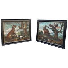 Pair of European Oil on Canvas Paintings of Wildlife