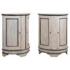 Pair of European Painted Wood Demilune 2-Door Cabinets in Gray