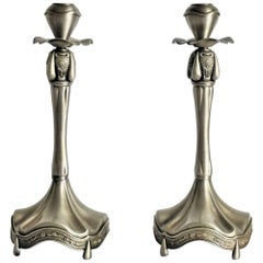 Pair of European Pewter Candleholders