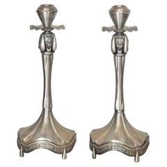 Pair of European Pewter Candleholders