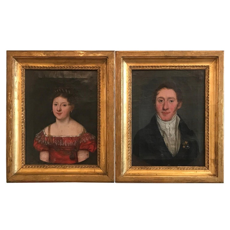 Pair of European Portraits of an Aristocratic Couple, 1819 For Sale